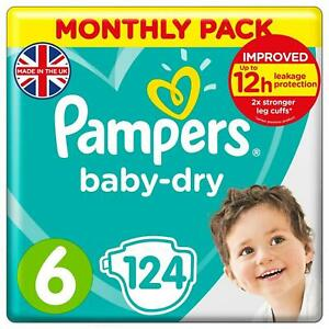 Pampers Baby Dry Size 6 Nappy 13-18kg Strong Stretchy - Monthly Pack 124 Nappies