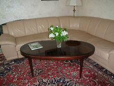 Couchtisch - oval echtes Kirschholz-massiv & dunkl. Glasplatte,Sehr guter Zust.!