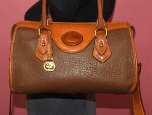 VTG DOONEY & BOURKE Brown British Tan ZIP TOP Leather Crossbody Hand Bag USA