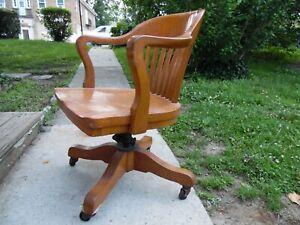 Sikes Philadelphia VTG Solid Oak Banker's Swivel Office Arm Chair Rolling USA