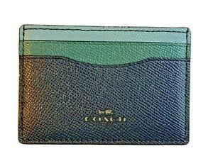 Coach Color Block Slim Flat Leather Cardholder Wallet