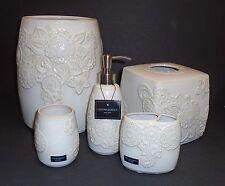 Nuovo 5 Pc Set Cynthia Rowley Bianco Avorio Floreale Ceramica Erogatore Sapone,
