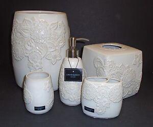 NEW 5 PC SET CYNTHIA ROWLEY WHITE IVORY FLORAL CERAMIC SOAP DISPENSER,TRASH+3MOR