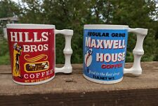 Pair 1960's Vtg Collectible Ceramic Maxwell House & Hills Bros Coffee Mugs Ads