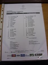 11/12/2013 Colour Teamsheet: Chelsea v Steaua Bucuresti [Champions league] . Tha