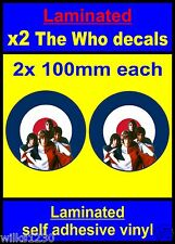 Laminated 2x The Who stickers colour RAF Roundel Mod Target Scooter Vespa Decals
