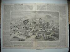GRAVURE 1854. PALAIS DE VERRE DE SYDENHAM, A LONDRES. FACADE SUR LES PARTERRES..
