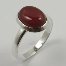925 Solid Sterling Silver Genuine CARNELIAN Oval Gemstone Nice Ring Choose Size