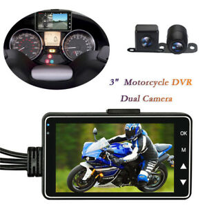 "3"" LCD Screen Dual Motorcycle Camera Front+Rear HD MP4 Video Recorder Waterproof"