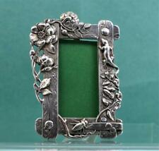 Victorian  Miniature White Metal Shibayama Photograph Frame Flowers Insects