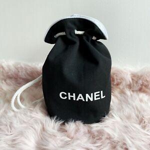 Chanel Black Logo Drawstring Canvas Backpack Beach Bag Bucket Tote VIP Gift