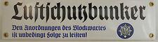 WEHRMACHT Plaque en émail Luftschutzbunker Bombenkrieg bunker flak Luftkrieg rlb