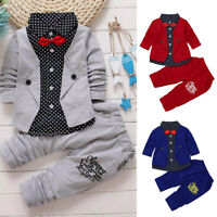 Infant Kid Baby Boy Gentry Clothes Set Party Christening Wedding Tuxedo Bow Suit