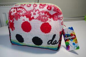 €29 DESIGUAL TERRY TOWEL COSMETIC BAG WOMENS CLUTCH PURSE POOL BEACH WATERPROOF