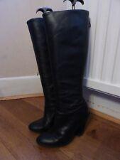 Buffalo black leather heels knee high boots 38 5 smart casual zip back biker