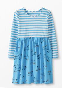 Hanna Anderson Girls LS Unicorn Dress Pockets 140 Blue Stripe Size 10 NWT mixie