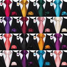 USA Mens Ties Necktie Set Solid Plain Silk Red Blue Black Gold Green Wedding