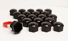 20 x 17MM ALLOY WHEEL HEX NUT/BOLT CAPS COVERS + TOOL BLACK For Vauxhall Cars