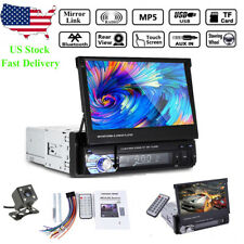 7'' 1 Din Car Radio FM SD Audio Stereo Head Unit Flip Out Touch Screen +Camera