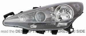 LHD Headlight Peugeot 207 2006 Right Side With Fog Light Black Background