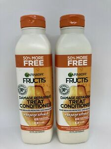 2 Garnier Fructis Damage Repairing Treat Conditioner + Papaya Extract 17.7 oz