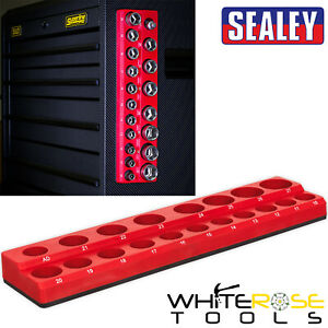 "Sealey Magnetic Socket Holder 1/2"" Drive 19 Sockets Capacity Garage Storage"