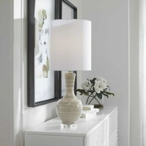 """MODERN CHALICE CERAMIC 33"""" ACCENT TABLE LAMP CRYSTAL BASE UTTERMOST 29996"""