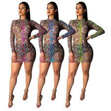 NEW Women Snakeskin Print Mock Neck Long Sleeve Bodycon Club Cocktail Mini Dress