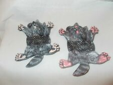 Raccoon Road Kill Hand Painted Ceramic Figurine Animal