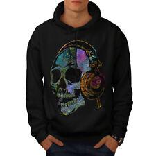 Wellcoda Skull Headphone Music Mens Hoodie, Skull Casual Hooded Sweatshirt