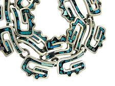 925 Sterling Silver Taxco Turquoise Chip Inlay Curly Link Bib Collar Necklace
