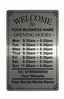 Personalised OPENING TIME/HOURS Aluminium Plaque Metal Sign Shop Pub Bar 23x15cm