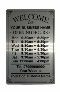 Personalised OPENING TIME/HOURS Aluminium Plaque Metal Sign Shop Pub Bar 5 Sizes