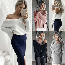 AU Womens Off Shoulder Baggy Long Sleeve Asym Tops Casual Knitted Sweater Jumper