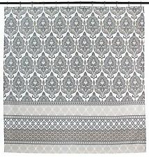 Charcoal Grey Tan White Fabric Shower Curtain: Floral Damask Geometric Border