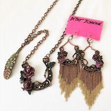 Betsey Johnson 'Lady Luck' Horseshoe Earrings/Necklace Set *Retired* HTF