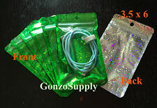 "100PC 3.5x6"" Clear Front Green Hologram Mylar Ziplock Bags-Merchandise Storage"