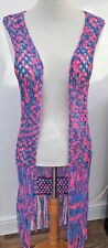 Pretty Resort Tape Yarn Pink & Blue Crochet Beach Longline Waistcoat Size 12-14