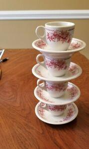 8 piece Vintage Shenango China Restaurant Tea Set  - 4 Stacking Cups and Saucers