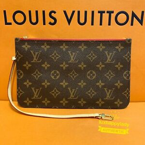 ❤️NEW AUTHENTIC LOUIS VUITTON Neverfull GM/MM Monogram Cherry/Red Pouch Pochette
