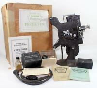 Vintage Keystone Model A-72 Portable 16mm Film Projector w/ Original Box & More