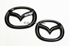 Glossy Black Carbon Front and Rear Badge Emblem for Mazda CX-5 CX5 2017 (set)