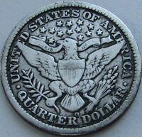 1898-O Barber Quarter in a SAFLIP® - VF- (Fine+) Details