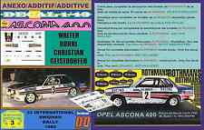ANEXO DECAL 1/43 OPEL ASCONA 400 ROTHMANS WALTER ROHRL SWEDISH R. 1982 (02)