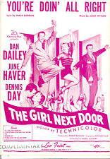 "Girl Next Door Sheet Music ""You're Doin' All Right"" June Haver Dan Dailey"