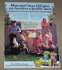 1990 ad page - Citrus Hill Lemonade stand Boy policeman Dog girls kids CUTE AD