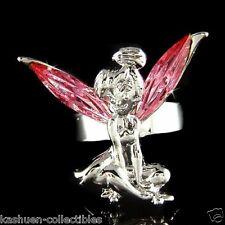 w Swarovski Crystal PINK Rose Fairy Angel Tinkerbell Adjustable Rhodium Ring NEW