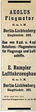 E.Rumpler Berlin-Lichtenberg AEOLUS FLUGMOTOR Historische Reklame 1912