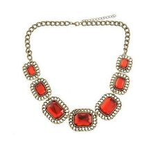 Stunning Red Crystal Glass Statement Necklace Chunky Bronze Chain