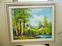 "Vintage Impressionist  Landscape Painting by Engel. 18"" x 22"""